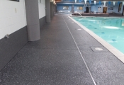 pool deck resurfacing w/ aggregate effects