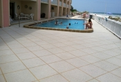 concrete pool deck w/ aggregate effects