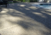 concrete pool deck w/ aggregate effects