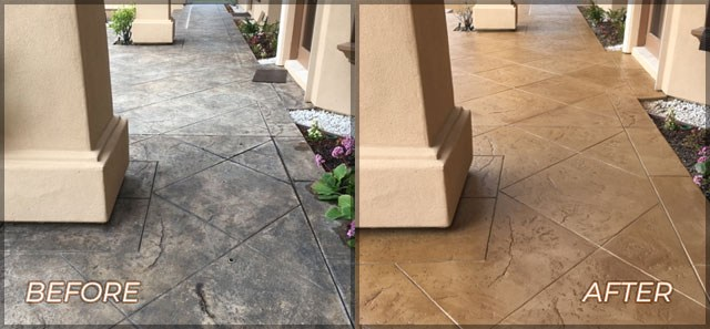 stamped-and-stained-rejuvination-of-concrete-walkway