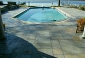 concrete pool deck limestone