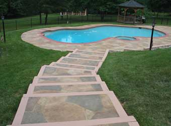 pool stairs stamped concrete