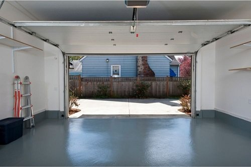 Clean garage with colored floor
