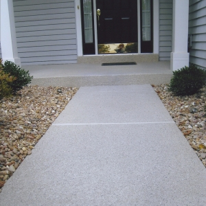 front entry refinishing with aggregate effects