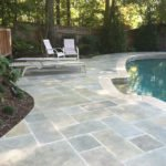 limestone stamped pool deck