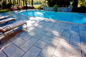 La Habra, CA Stamped Overlay Pool Deck