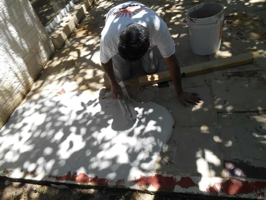 stamped concrete installation