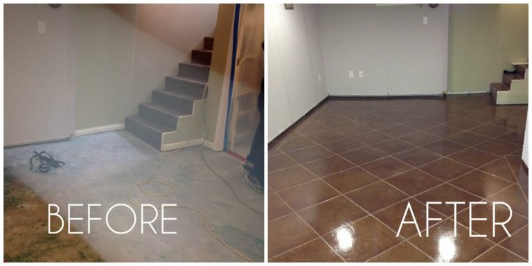 before and after photo of concrete floor basement