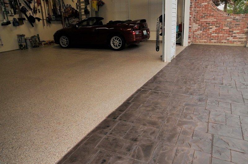 epoxy treated car garage