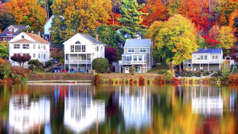 autumn houses near a lake