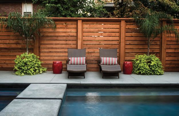 horizontal wooden fences for swimming pools