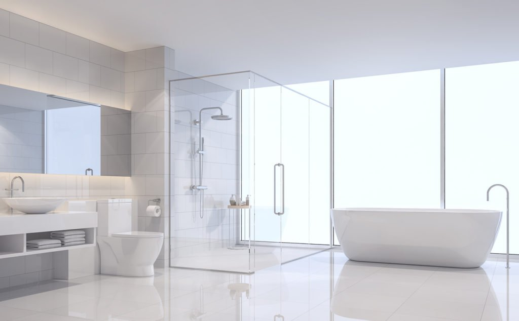 white modern bathroom polished concrete floor